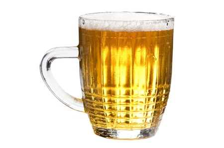 beerglass: object on white - glass of beer close up Stock Photo