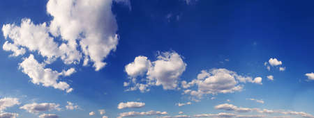 cloudscape: panorama blue sky is covered by white clouds  Stock Photo