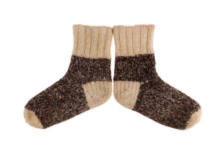 woolen cloth: object on white - wool socks close up