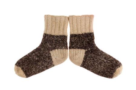 woolen fabric: objeto en blanco - calcetines de lana de cerca Foto de archivo