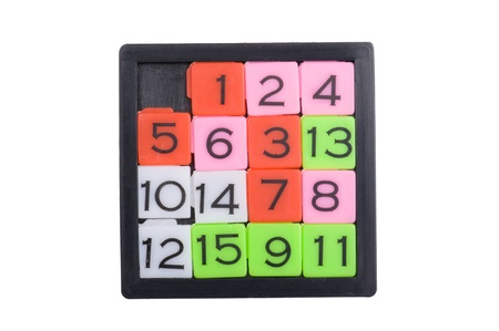 object on white - Pocket sliding fifteen puzzle game photo