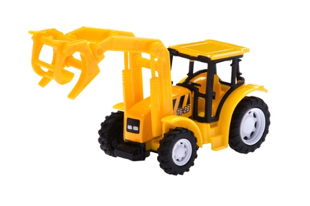 object on white - isolated toy excavator photo