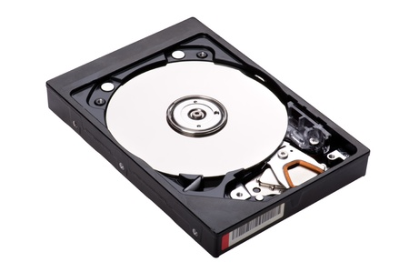 object on white - open hard drive  photo