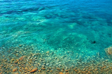 sea  bottom with Stones in the Mediterranean Stock Photo