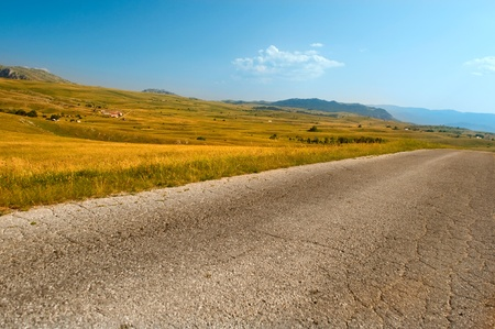 empty road in the park Durmitor Country Montenegro photo