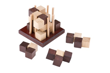 conundrum: logical wooden puzzles to train your brain Stock Photo