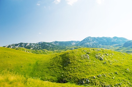 A view of the valley and the mountains of Durmitor National Park Montenegro photo