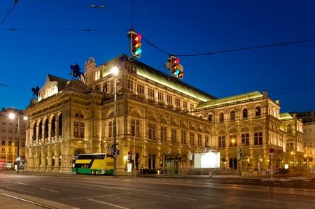 Staatsoper, Viennas grand Opera House at night photo