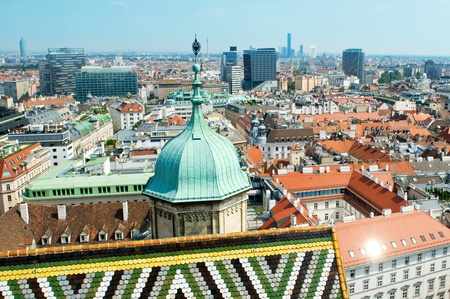 View of the Vienna rooftops from Stephansdom photo