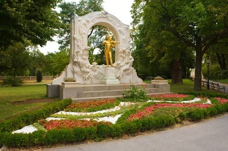 Johann Strauss Golden Statue in Vienna StadtPark photo