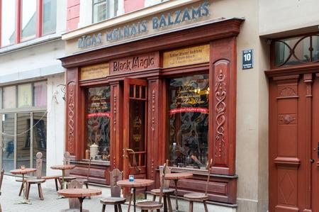 black magic: The facade of the building Black magic bar Editorial