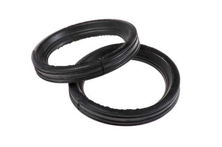 rubber gasket: object on white - black gasket ring isolated