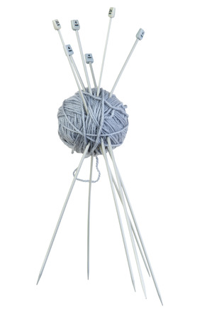 woollen: isolated object on white - Woollen ball with knitting needle
