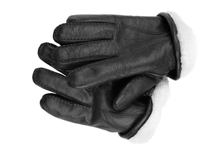 protective gloves: isolated object on white -  leather gloves