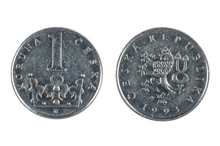 czech republic coin: isolated object on white -  Czech coin