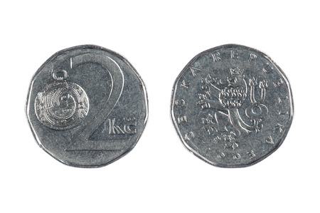 czech republic coin: isolated object on white - coins of Czech Stock Photo