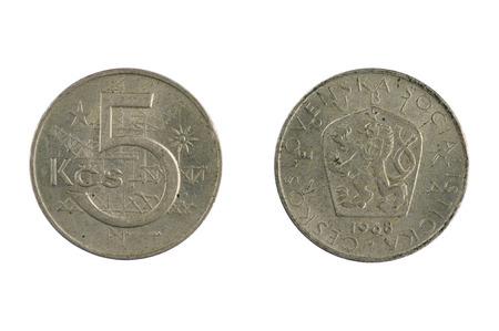 czechoslovakia: isolated object on white -   coin Czechoslovakia