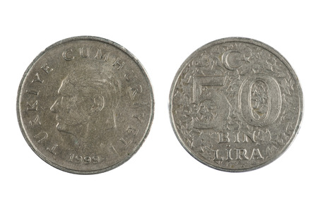 lira: isolated object on white -   coin Turkey Lira