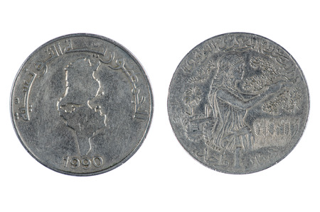 dinar: isolated object on white -   Tunisia coin dinar