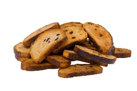 biscotte: objet sur fond blanc - rusk alimentaire fermer