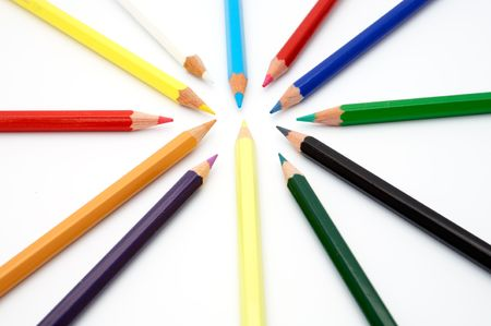 Circle of color pencils photo
