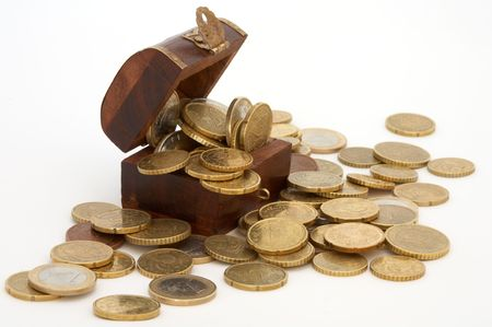 coffer: full wood coffer of currencies Stock Photo