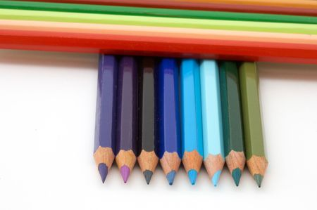 it is a series of pencils of colors photo