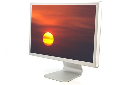 the heat is a screen of computer with a photo of a sun simulating