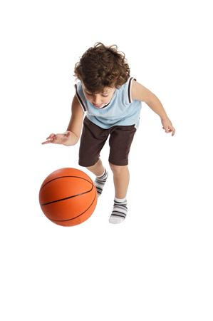 game over: boy playing the basketball with the white bottom Stock Photo