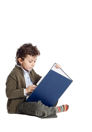 preperation: boy learning to read with white bottom