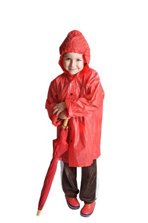 faerie: adorable boy with umbrella over a white background