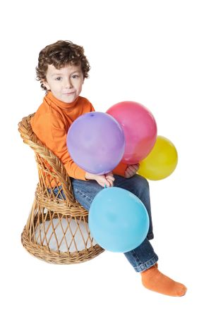 adorable boy with balloons  over a white background photo