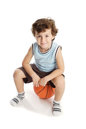 boy with a basketball ball  over a white background