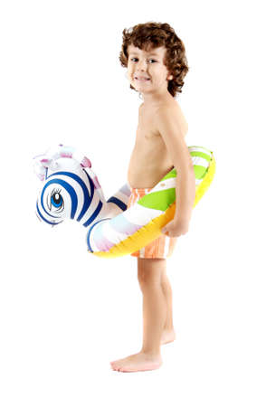 floater: adorable boy with a floater over a white background Stock Photo