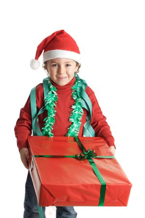 boy with gift and cap of santa claus, to over to white back ground
