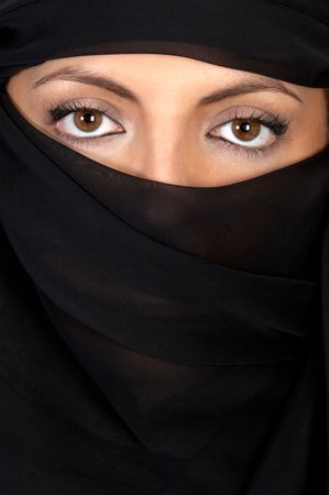 sheik: Beautiful eyes looking from above her veil