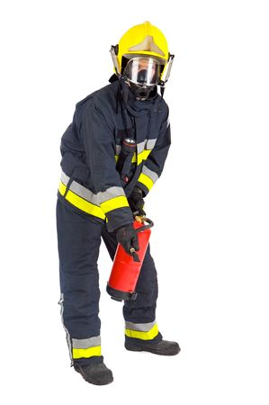extinguishing: fireman extinguishing the fire with white bottom