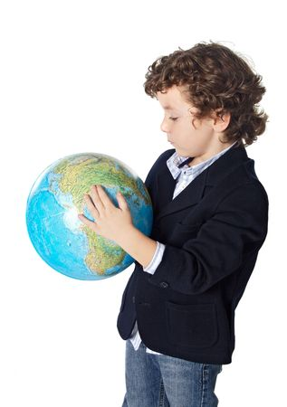adorable boy worried about the planet earth over white background Stock Photo - 617074