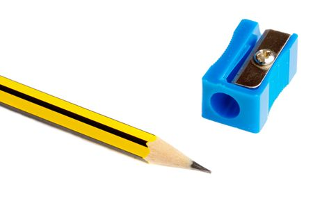 PENCIL WITH SHARPENER over a white back ground Stock Photo - 617087