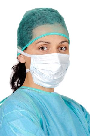 lpn: attractive lady doctor over a white background Stock Photo