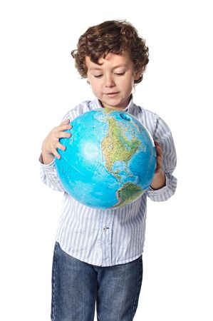 Adorable boy worried about the planet earth over white background photo