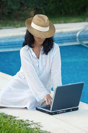 woman working comfortably in summer Stock Photo - 650846