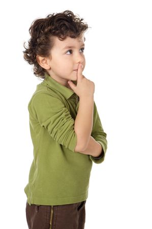 ironic: photo of an adorable boy thinking a over white background Stock Photo