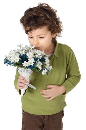 photo of an adorable boy with flowers Stock Photo - 650854