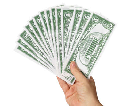 bought: photo of money in hand a over white background