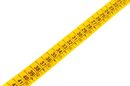 cintas metricas: foto de un fondo del blanco del excedente de la cinta que mide a