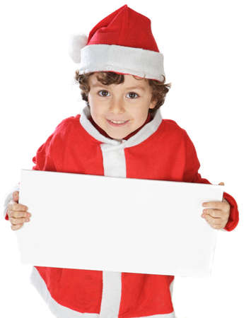 flattery: Photo of an adorable boy in christmas with a billboard