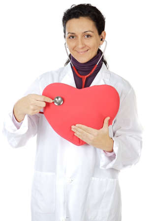 infarct: Attractive lady doctor cardiologist over a white background