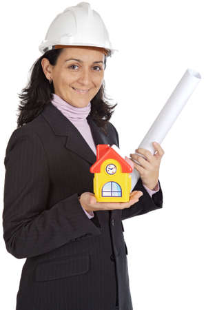 autocad: Photo of an attractive lady architect a over white background