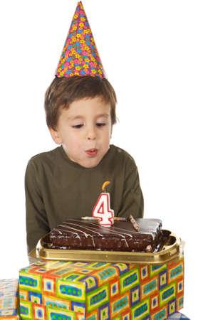 chocolaty: photo of an adorable kid celebrating his birthday Stock Photo